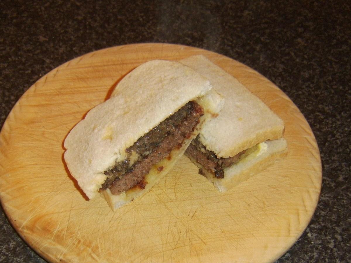 Sliced haggis, Lorne sausage and tattie scone sandwich