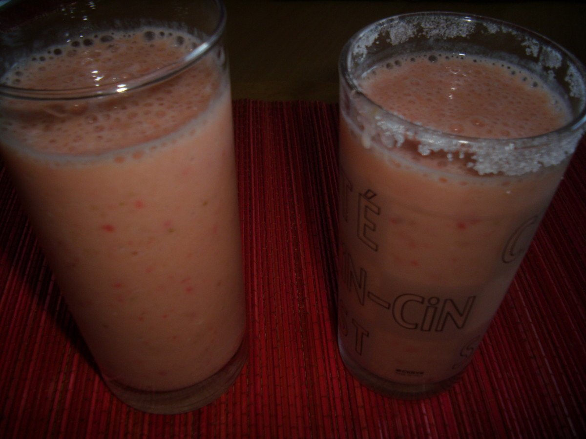 Ready to drink banana strawberry yogurt smoothie.