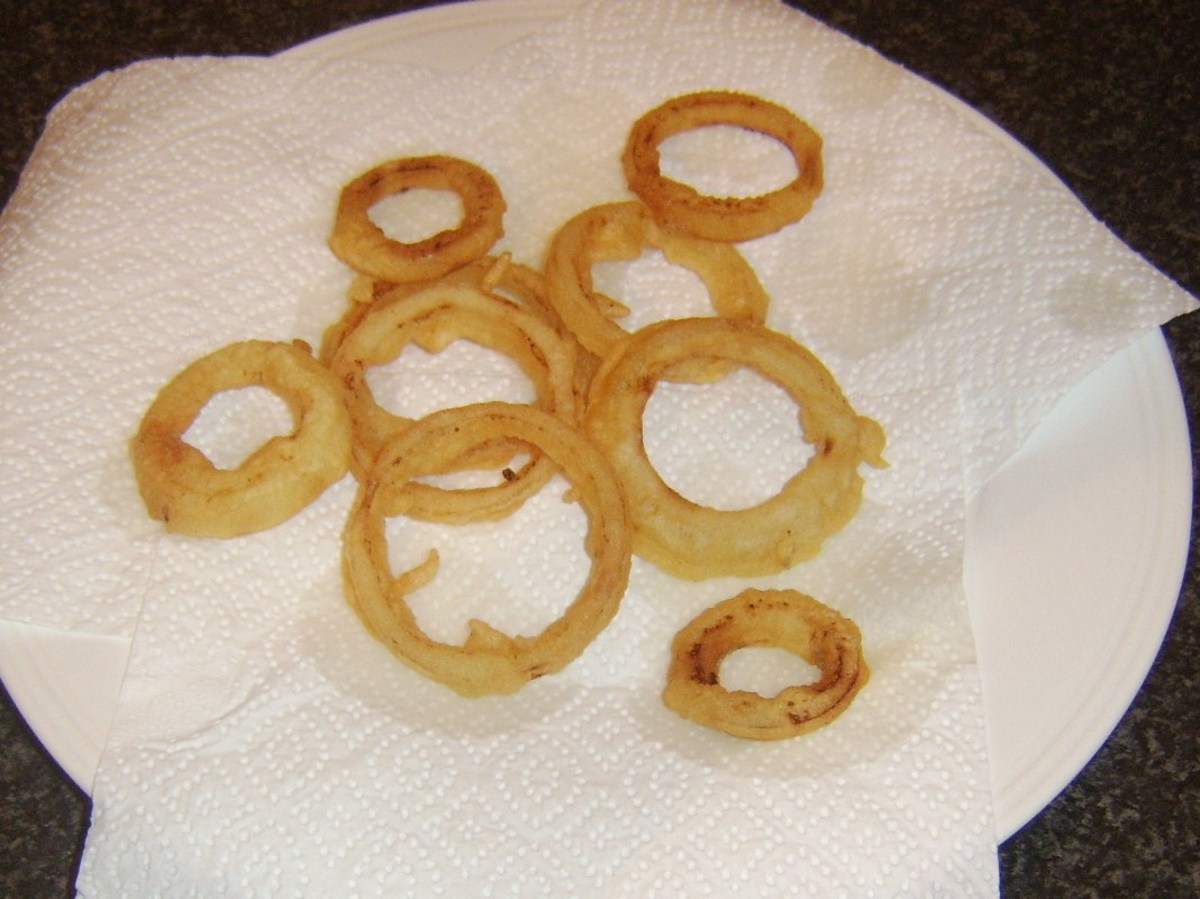 Draining onion rings