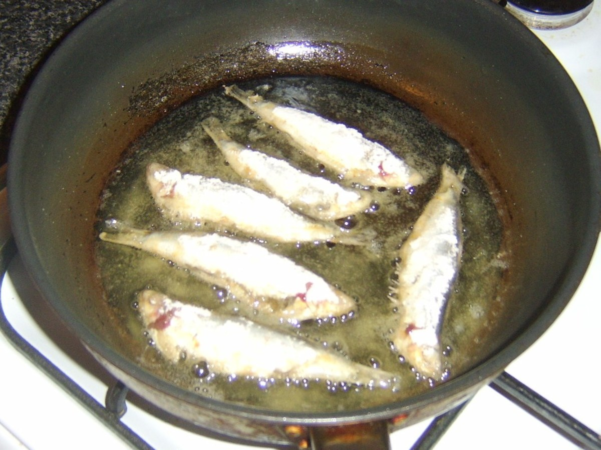 Shallow frying sprats