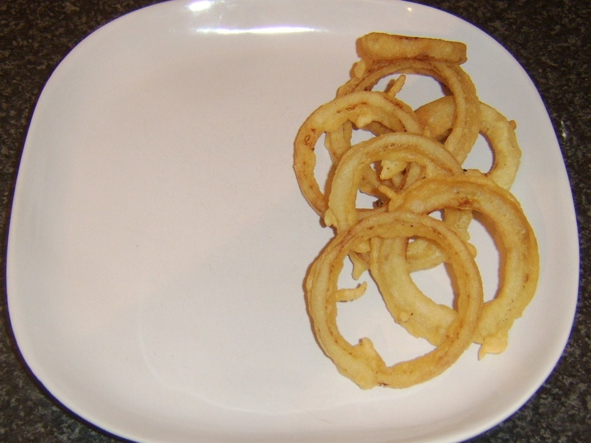 Onion rings are plated