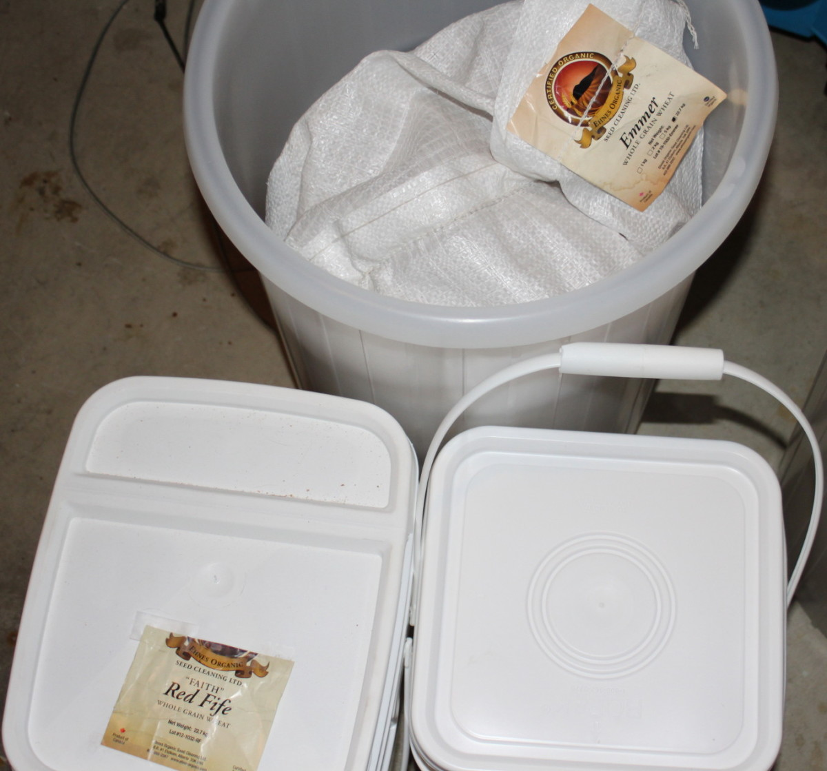 Food-grade containers I use for storing grains.