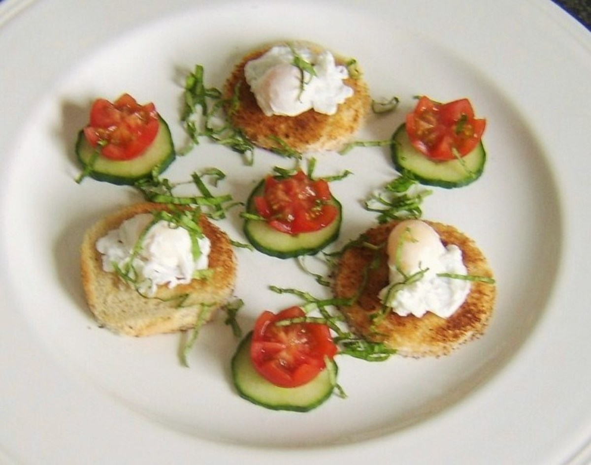 Poached quail eggs served on toast with a simple salad accompaniment