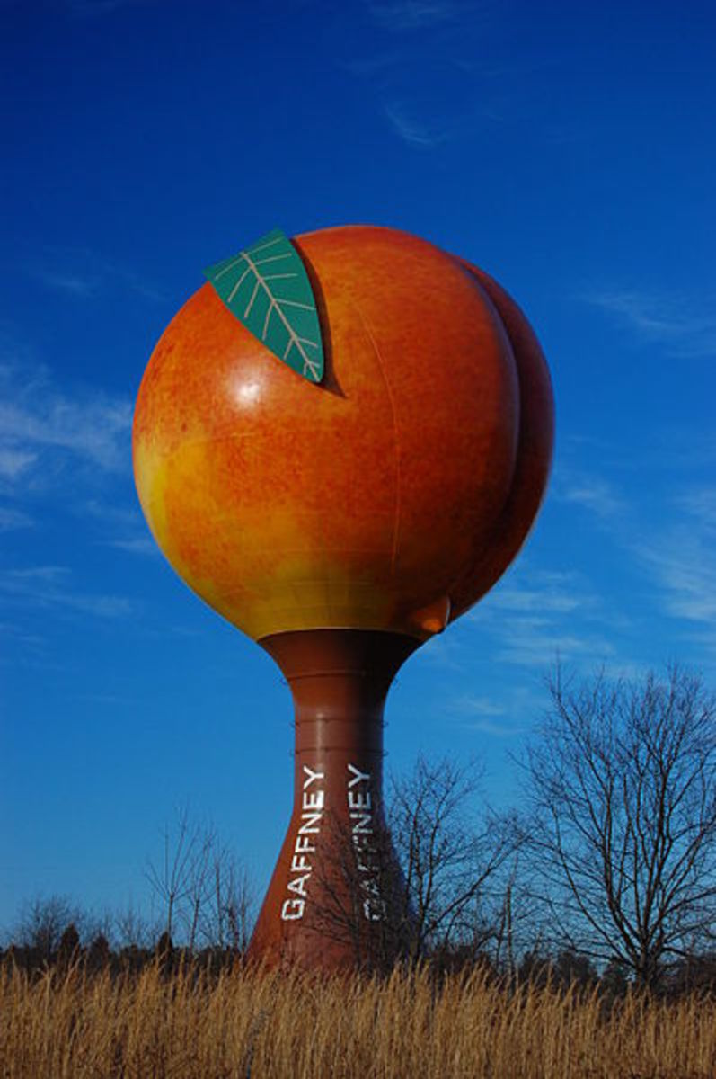 The Peachoid in Gaffney, South Carolina is a giant water tank in the shape of a peach.  It is a novelty roadside attraction off Interstate 85.