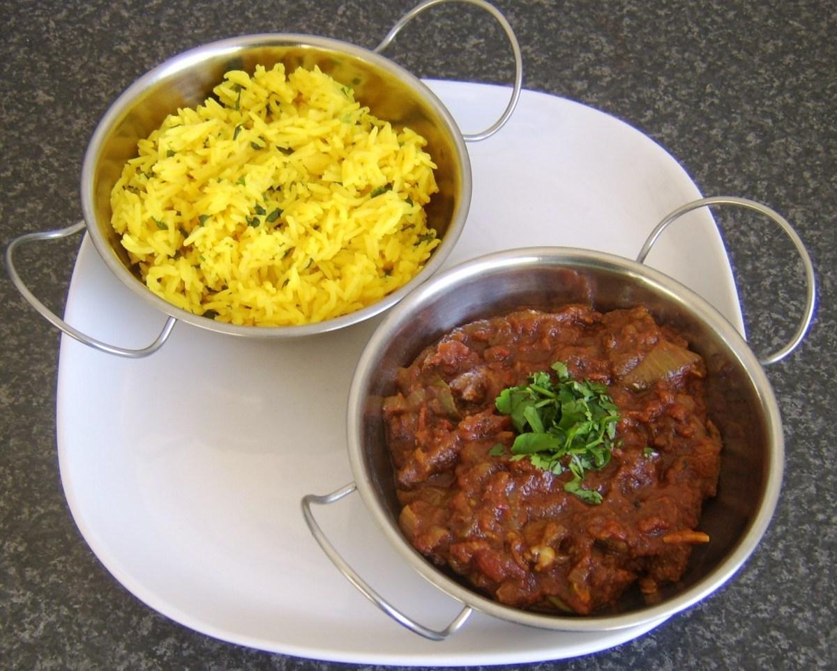 Bhuna lamb and aromatic rice