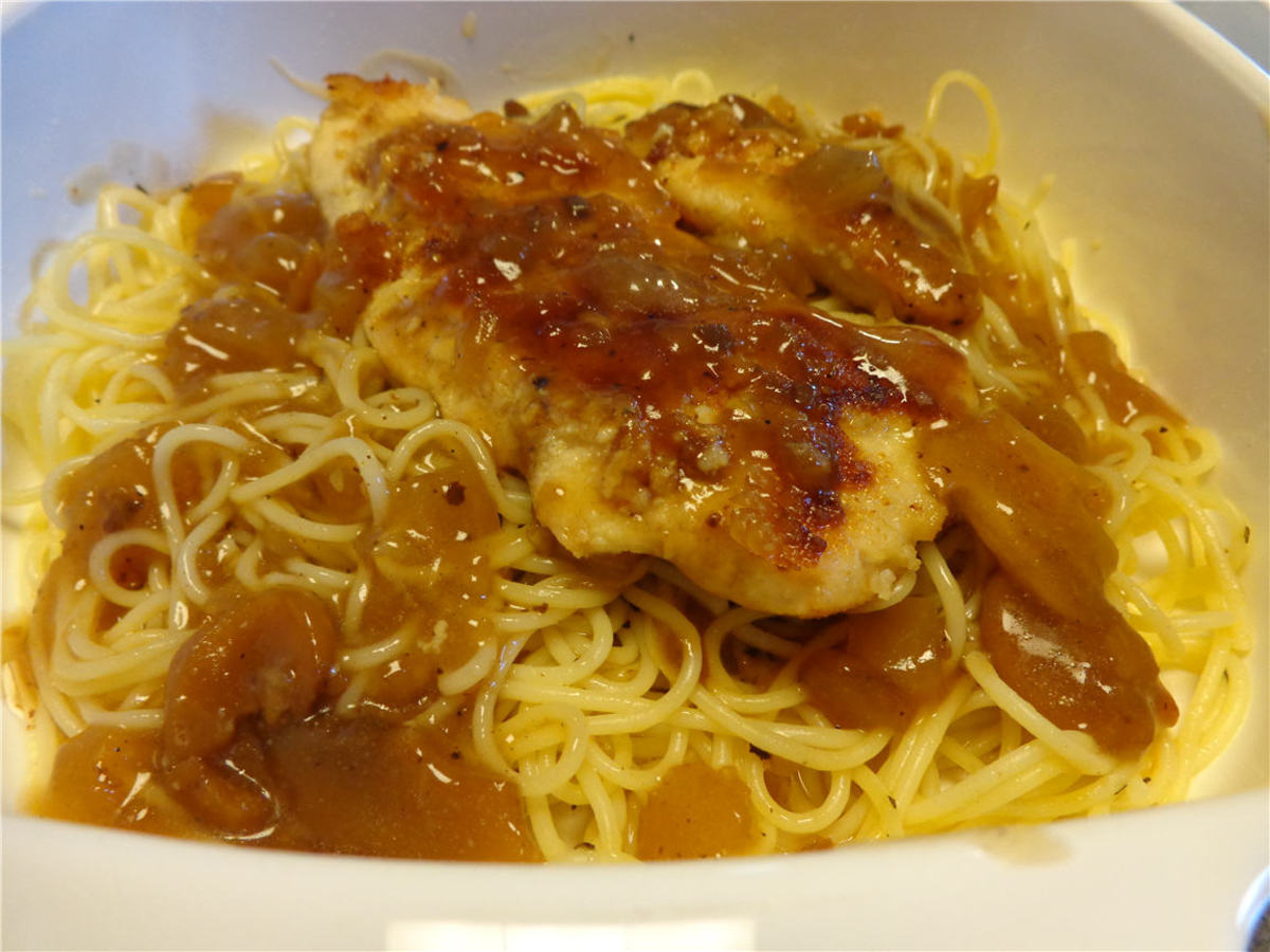 Chicken Marsala Over Angel Hair Pasta