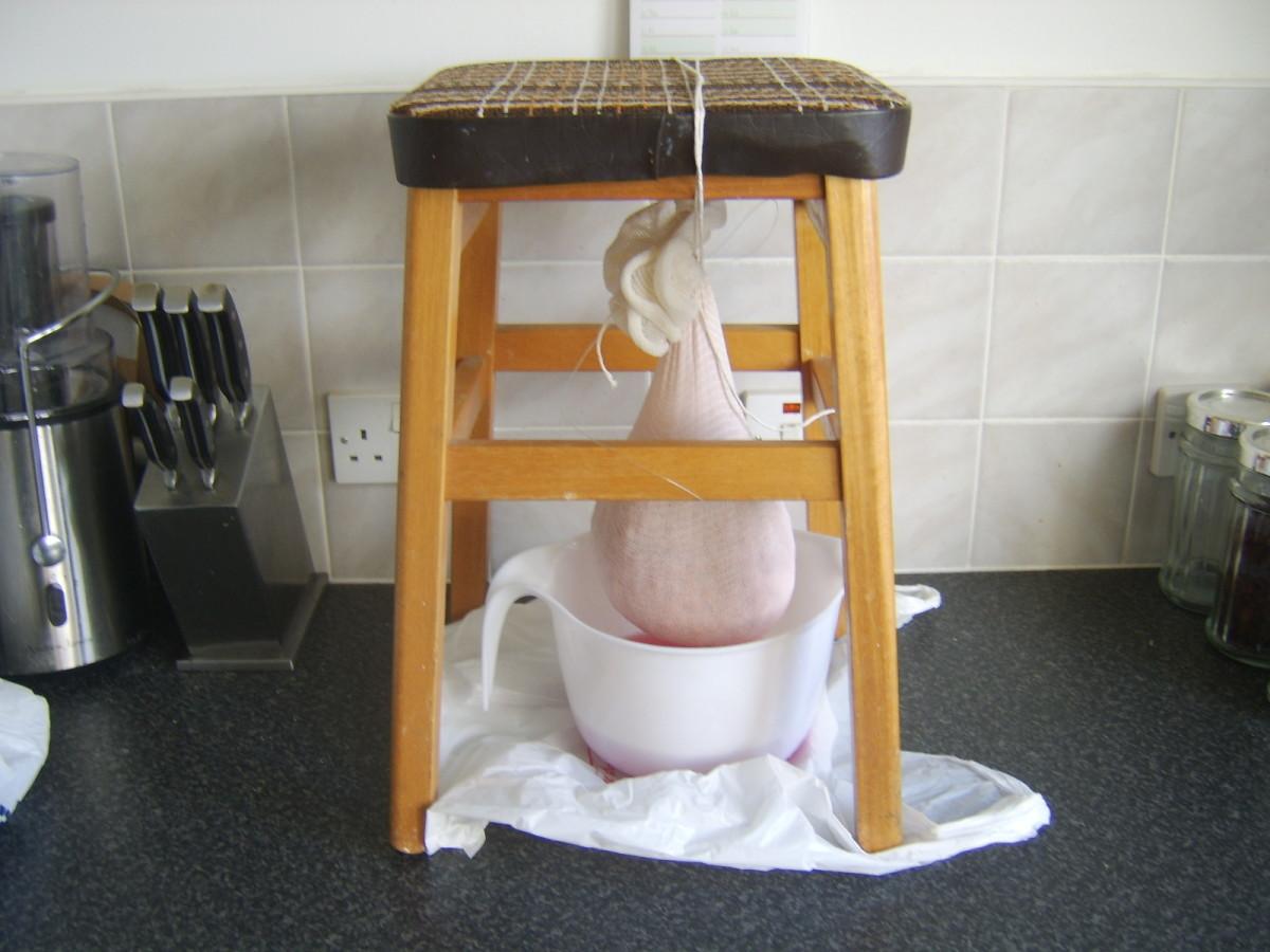 Makeshift berry straining apparatus