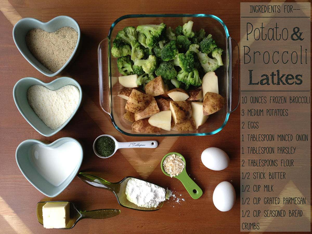 The ingredients for the potato and broccoli latke recipe.