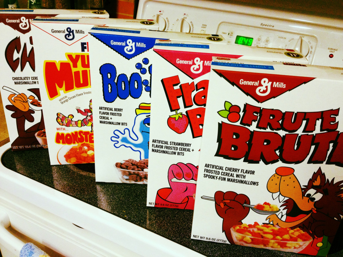 General Mills Monster Cereals in Vintage-Style Boxes (From Left to Right: Count Chocula, Yummy Mummy, Boo Berry, Franken Berry and Frute Brute)