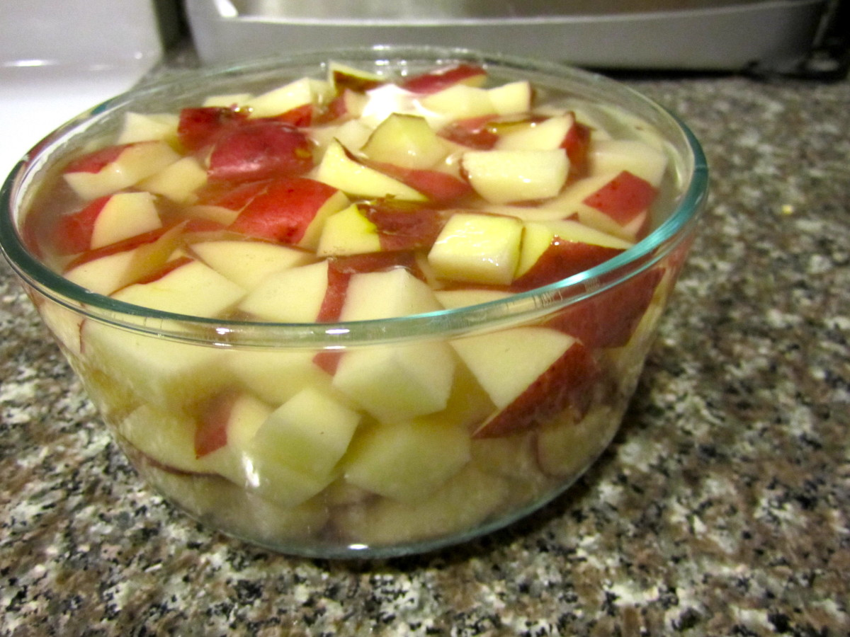 The potatoes sitting in cold water. I had to use a few bowls because the water takes up some space.