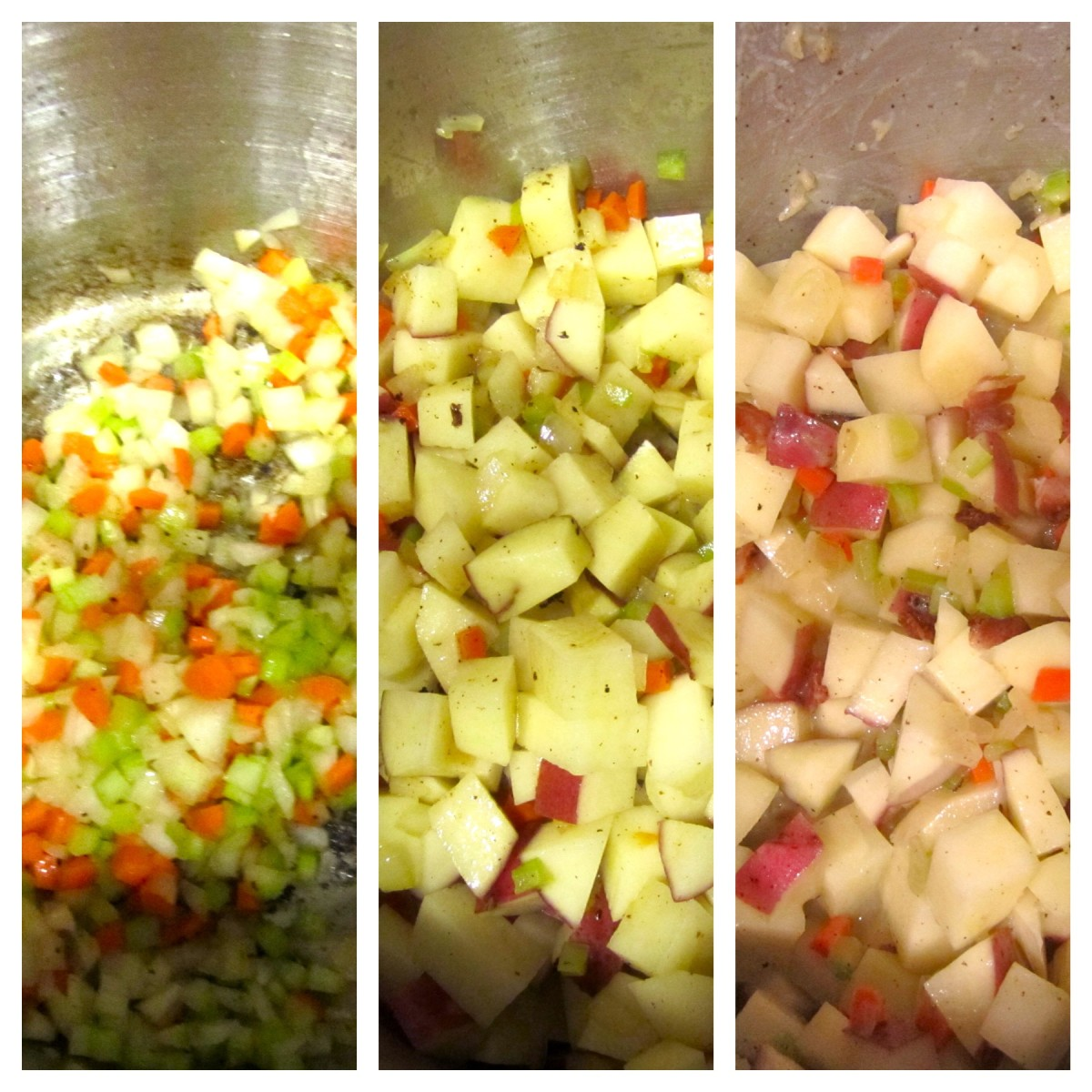 Left: Vegetables being sauteed in the stock pot. Center: Vegetables with the potatoes added and stirred. Right: All vegetables mixed with the flour for five minutes. (Step 2 and 3)
