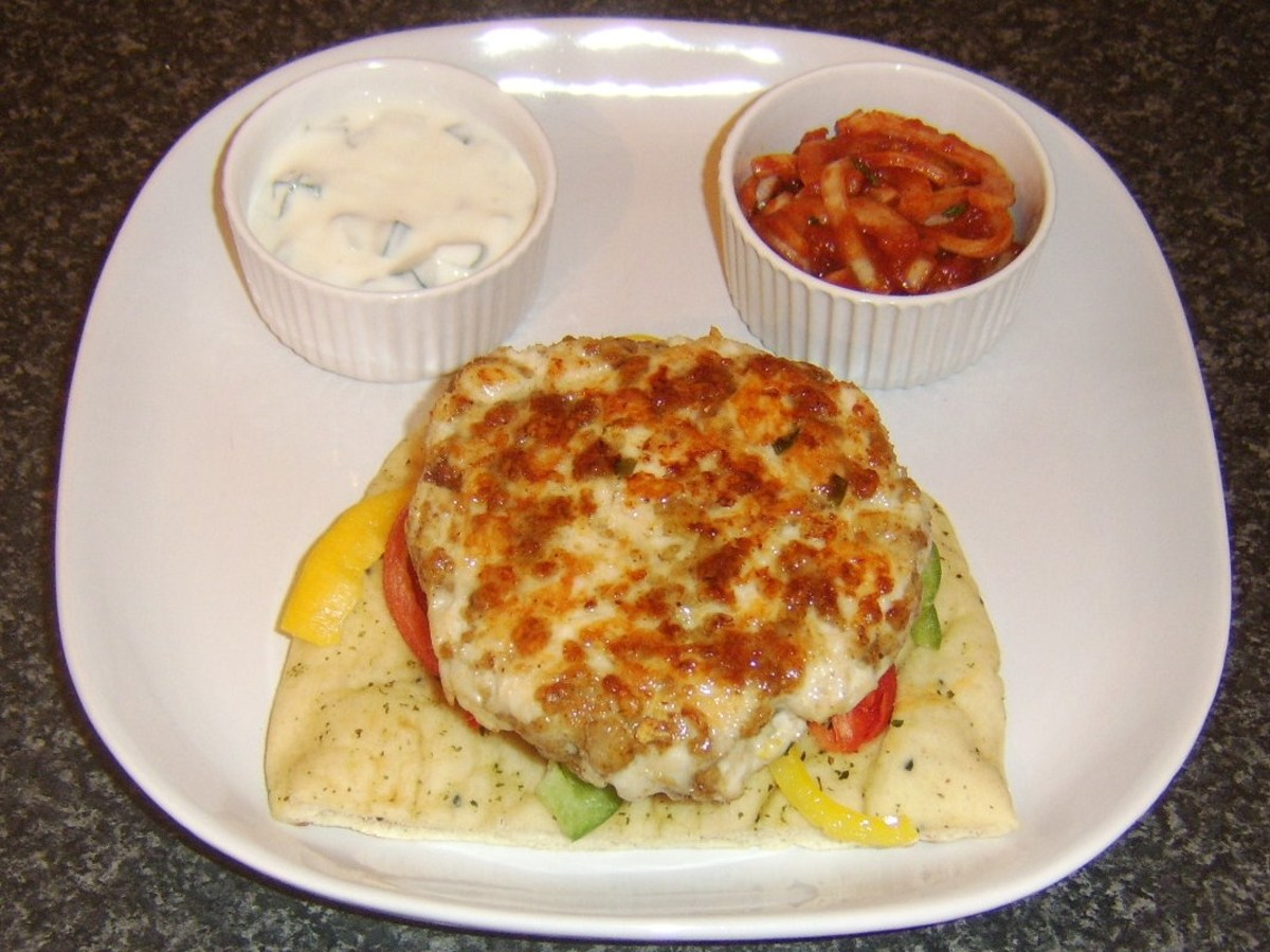 Curried chicken burger is added to bell pepper bed