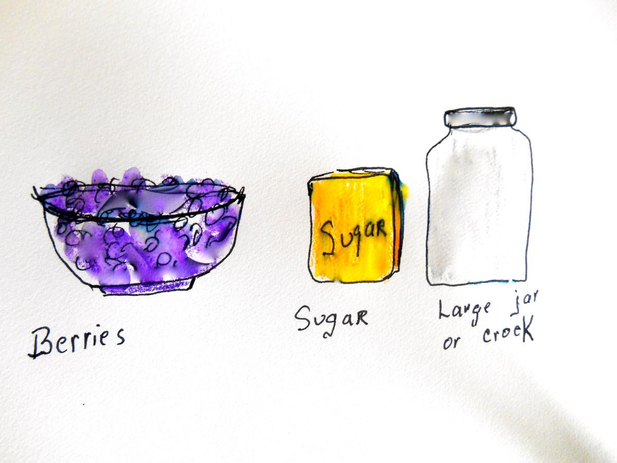 Gather ingredients: Berries, sugar, large glass jar or crock.