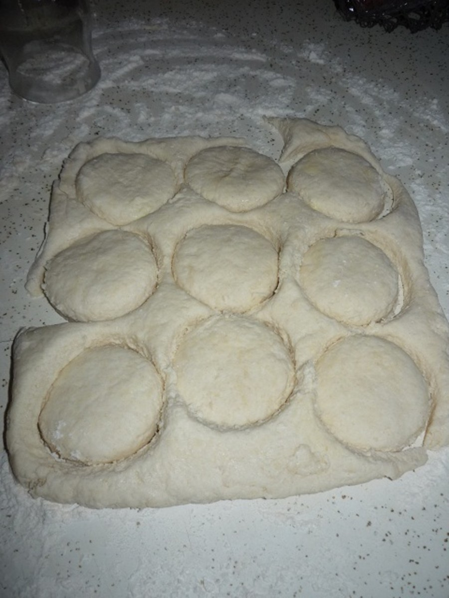 These first biscuits will be the best of the batch.  The more the dough is worked with, the tougher it becomes.