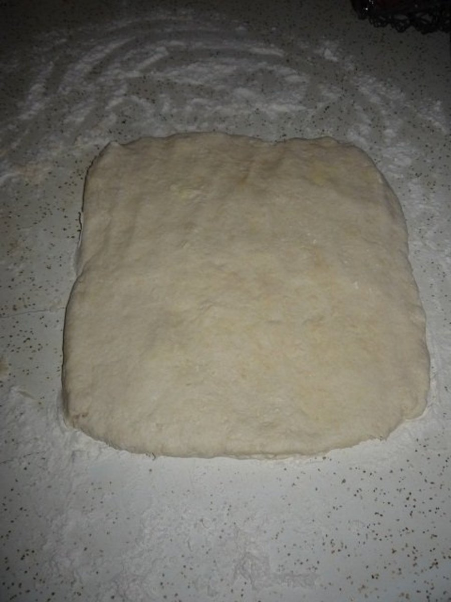 "Pat the dough out into a 1"" thick rectangle."