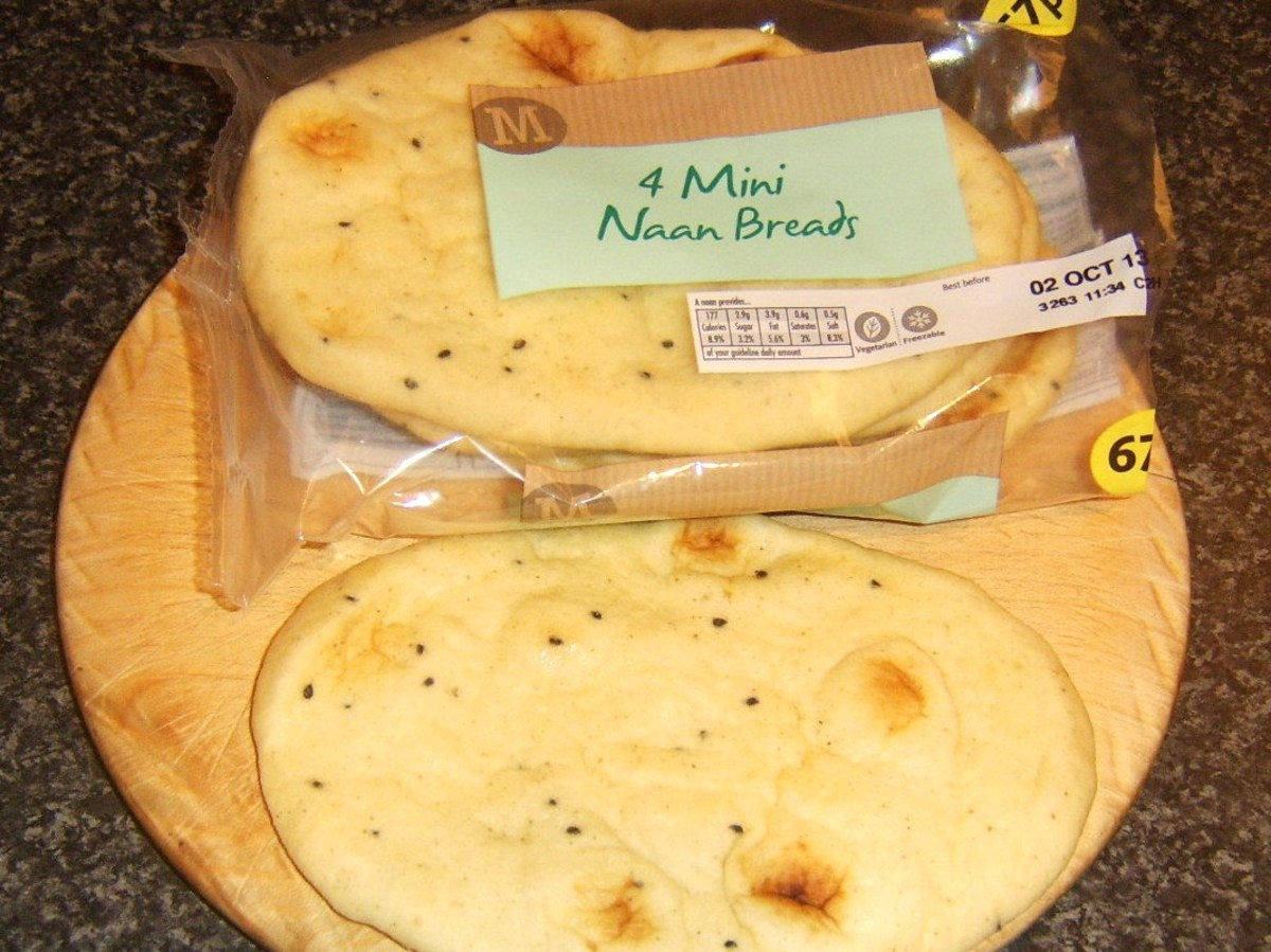 Two mini naan breads can be used to make a sandwich