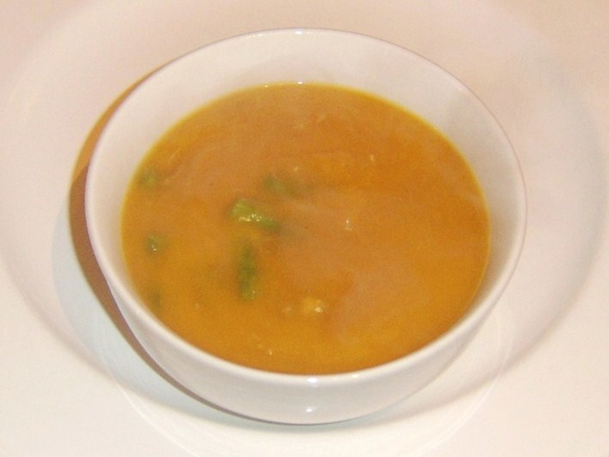 Celery, turkey and sweet potato soup is plated
