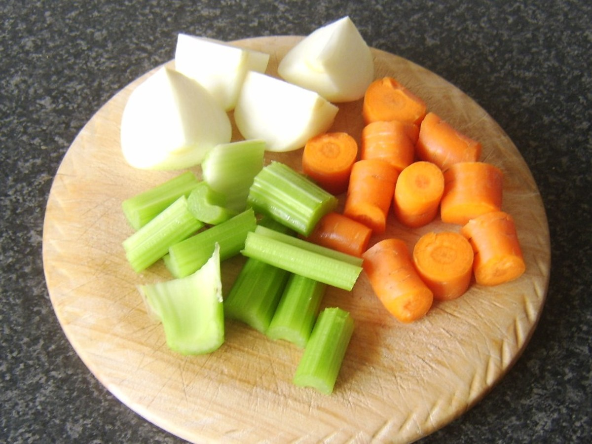 Celery, carrot and onion prepared for making stock