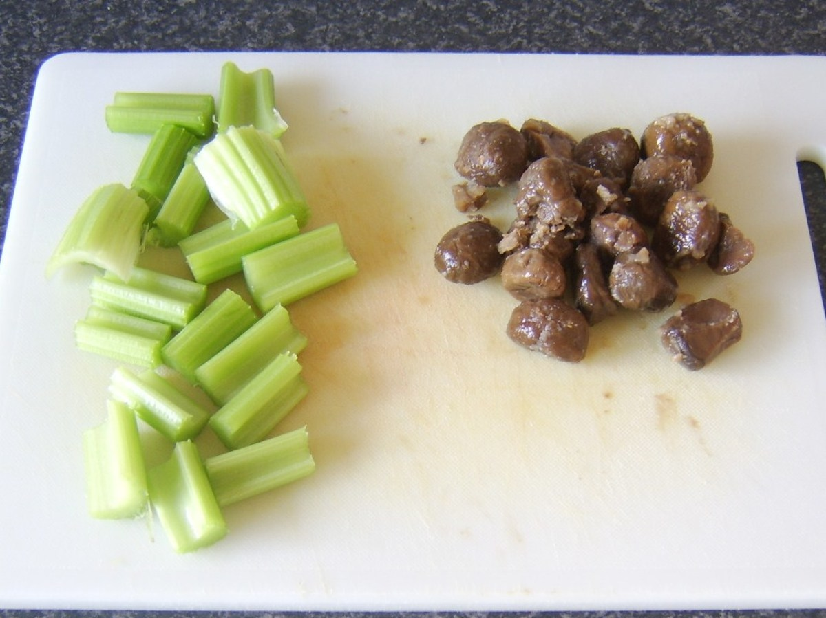 Prepared celery and chestnuts for soup
