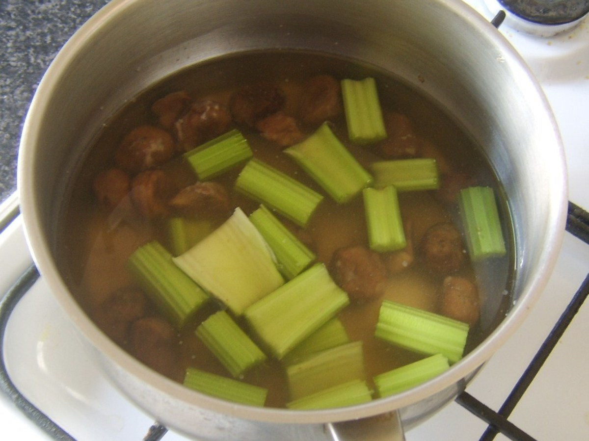 Celery and chestnuts are added to turkey stock