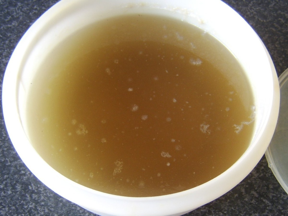 Fresh turkey stock ready for making soup