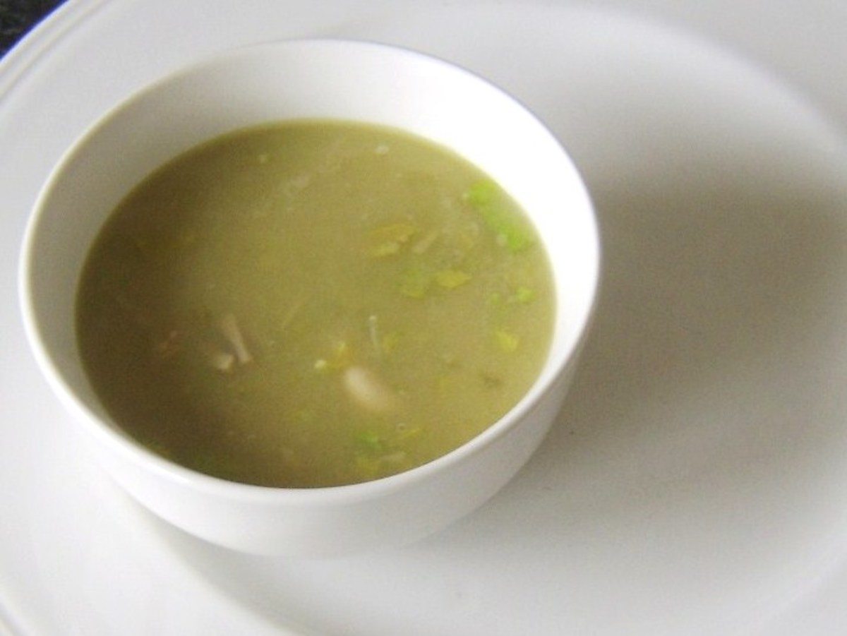 Celery, turkey and cannellini bean soup is plated