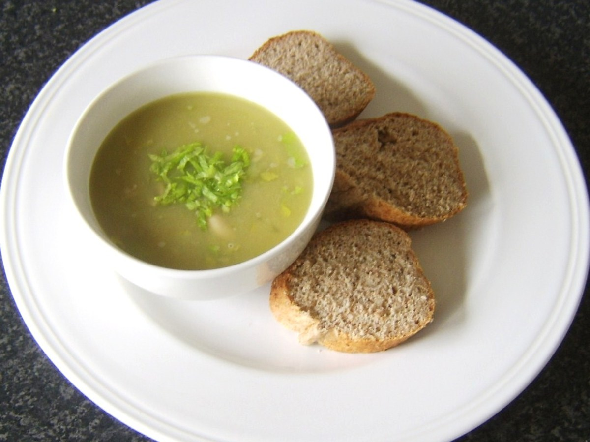 Celery, turkey and cannellini bean soup with wholemeal bread