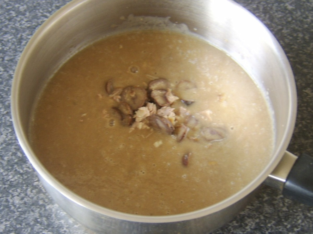 Chestnuts and turkey are added to soup