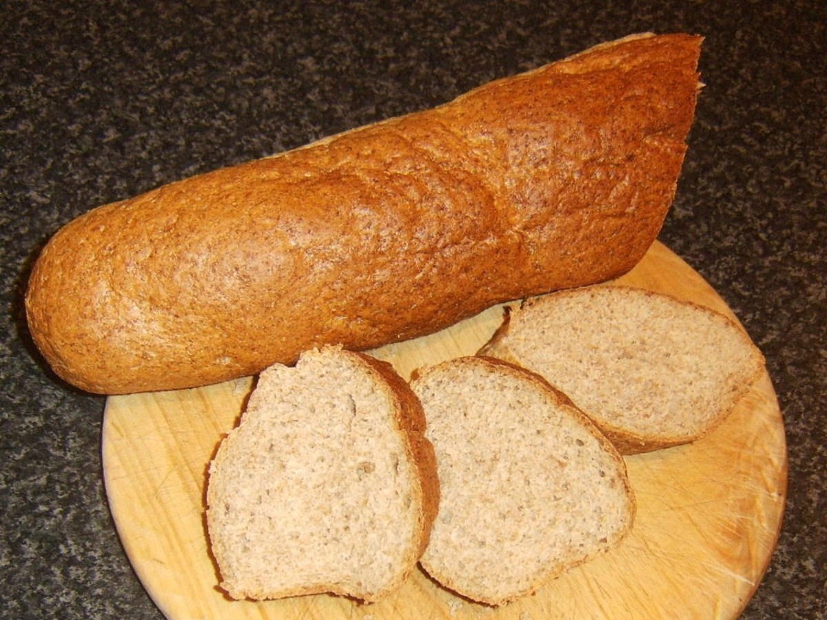Wholemeal bread stick slices for toasting