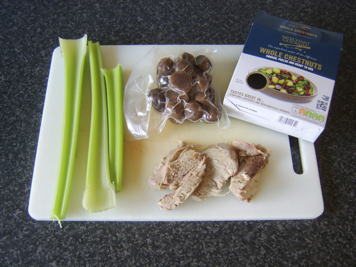 Celery, turkey and chestnuts for soup