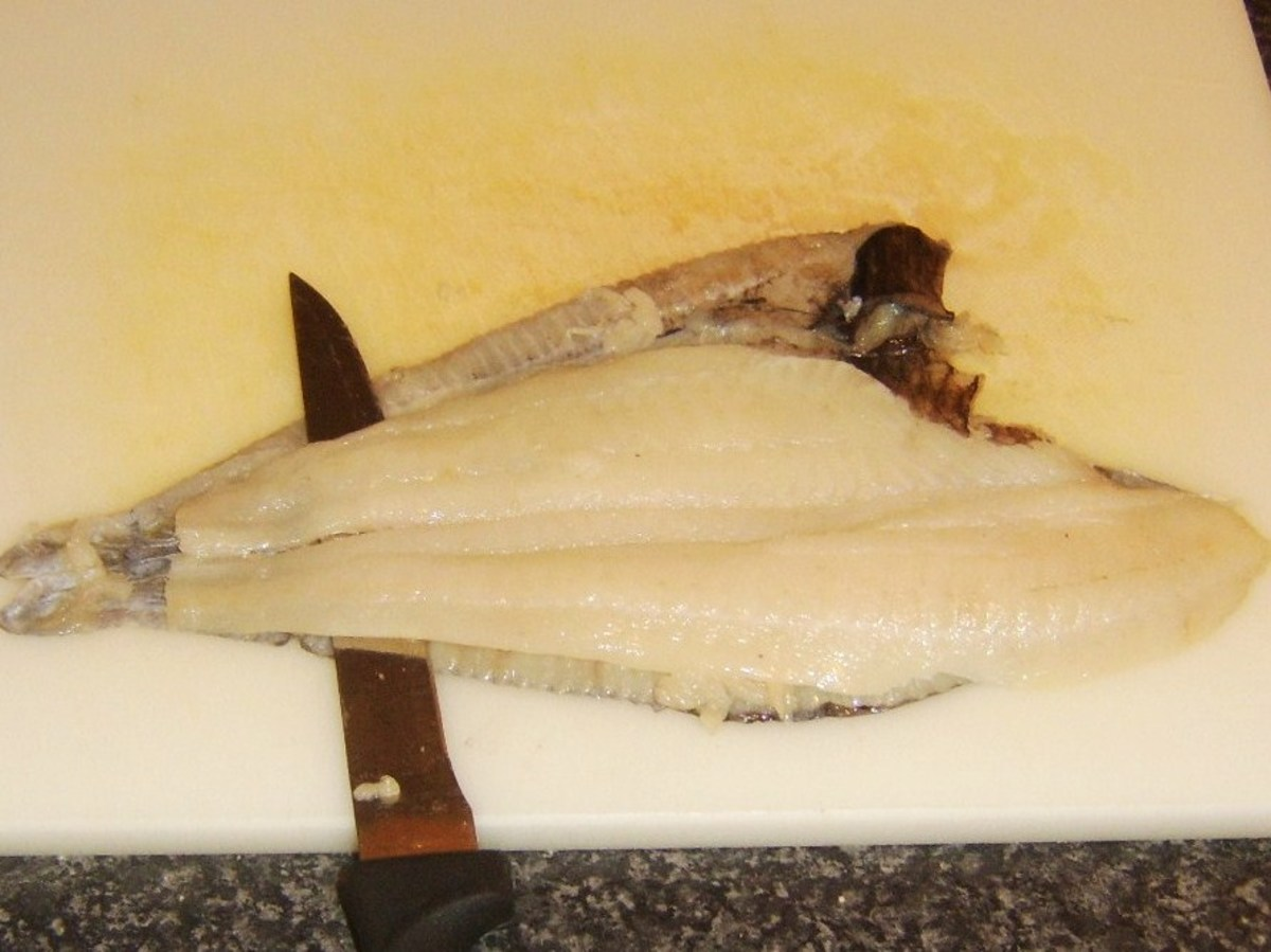 Starting to skin a plaice fillet