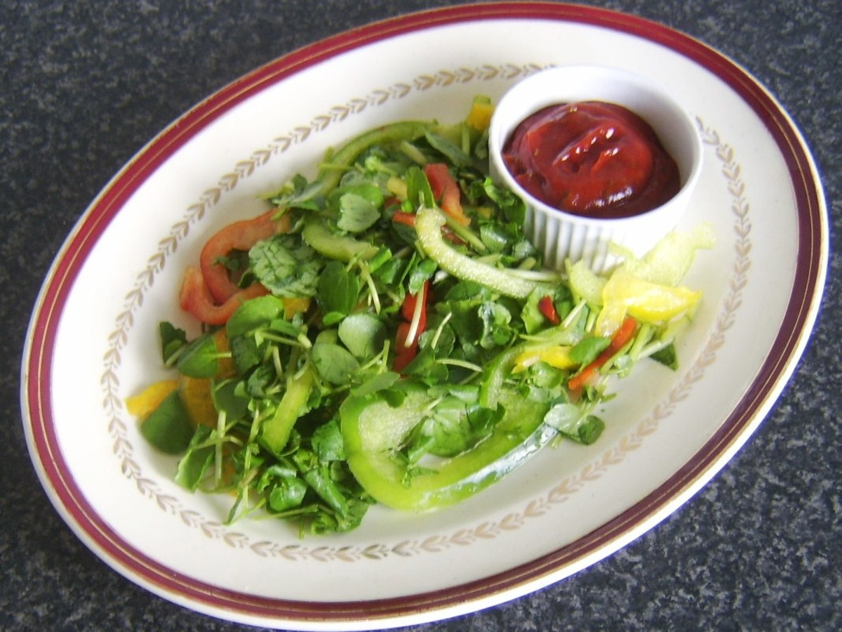 Salad bed and spicy dip for plaice