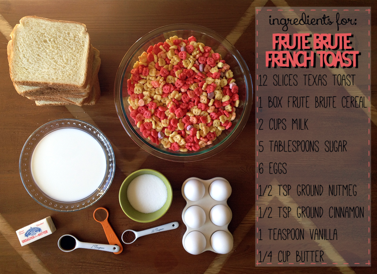 Ingredients for the Frute Brute French toast.