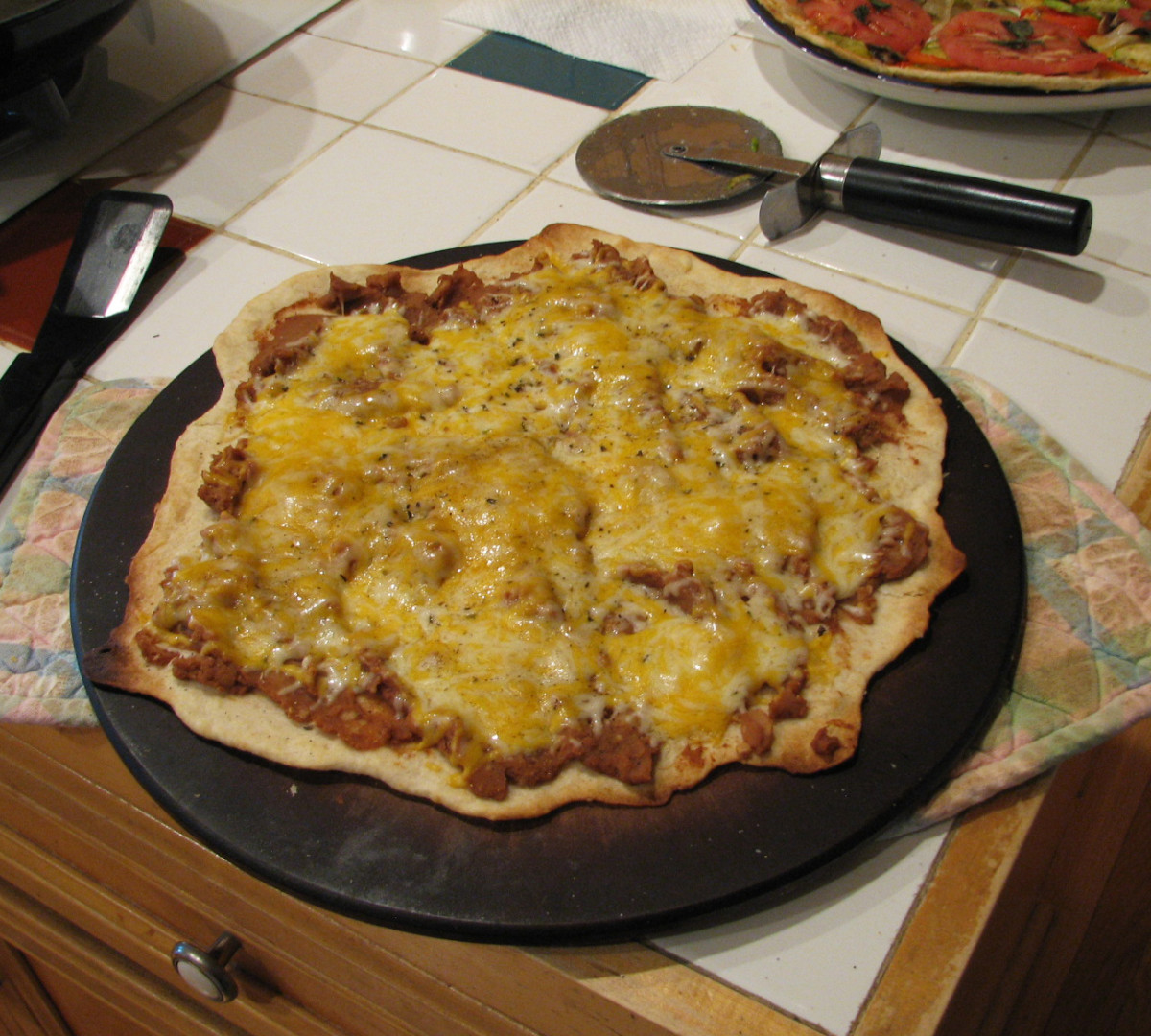 Tex-mex version, refried beans and cheese