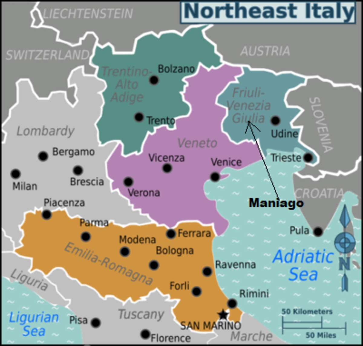Map showing Maniago, Italy.