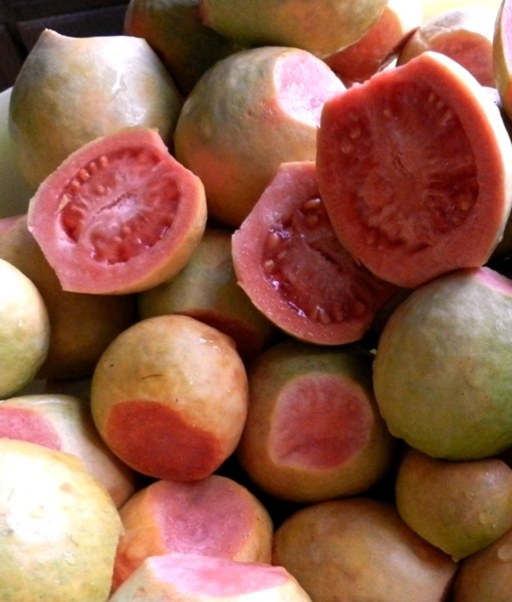 Peel guavas first if you want to cook the shells. For nectar cut shells in half and scoop out pulp.