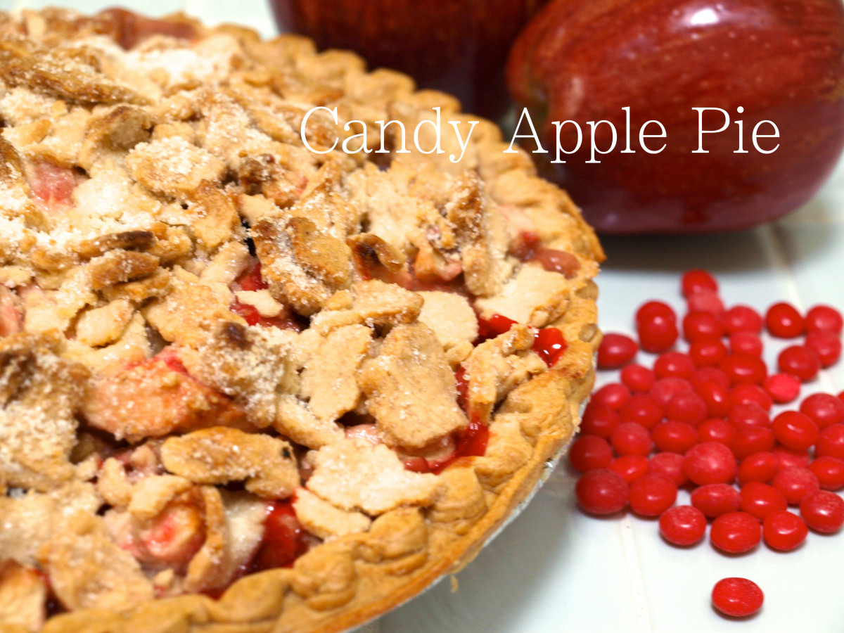 Fresh out of the oven, it's hard to wait for this candy apple pie to cool.  Yummy!