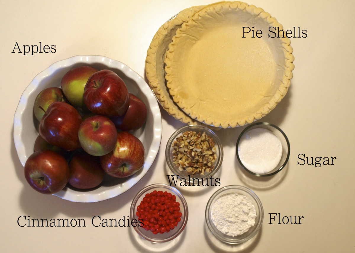 Ingredients for the candy apple pie.