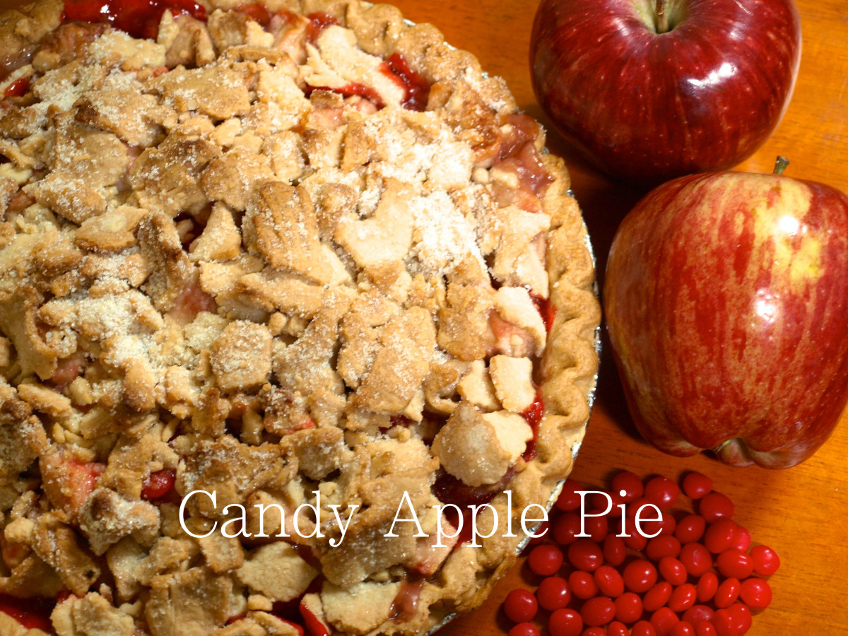 Candy apple pie ready to be served!  You can see how the cinnamon red hots have melted and bubbled up through the top.