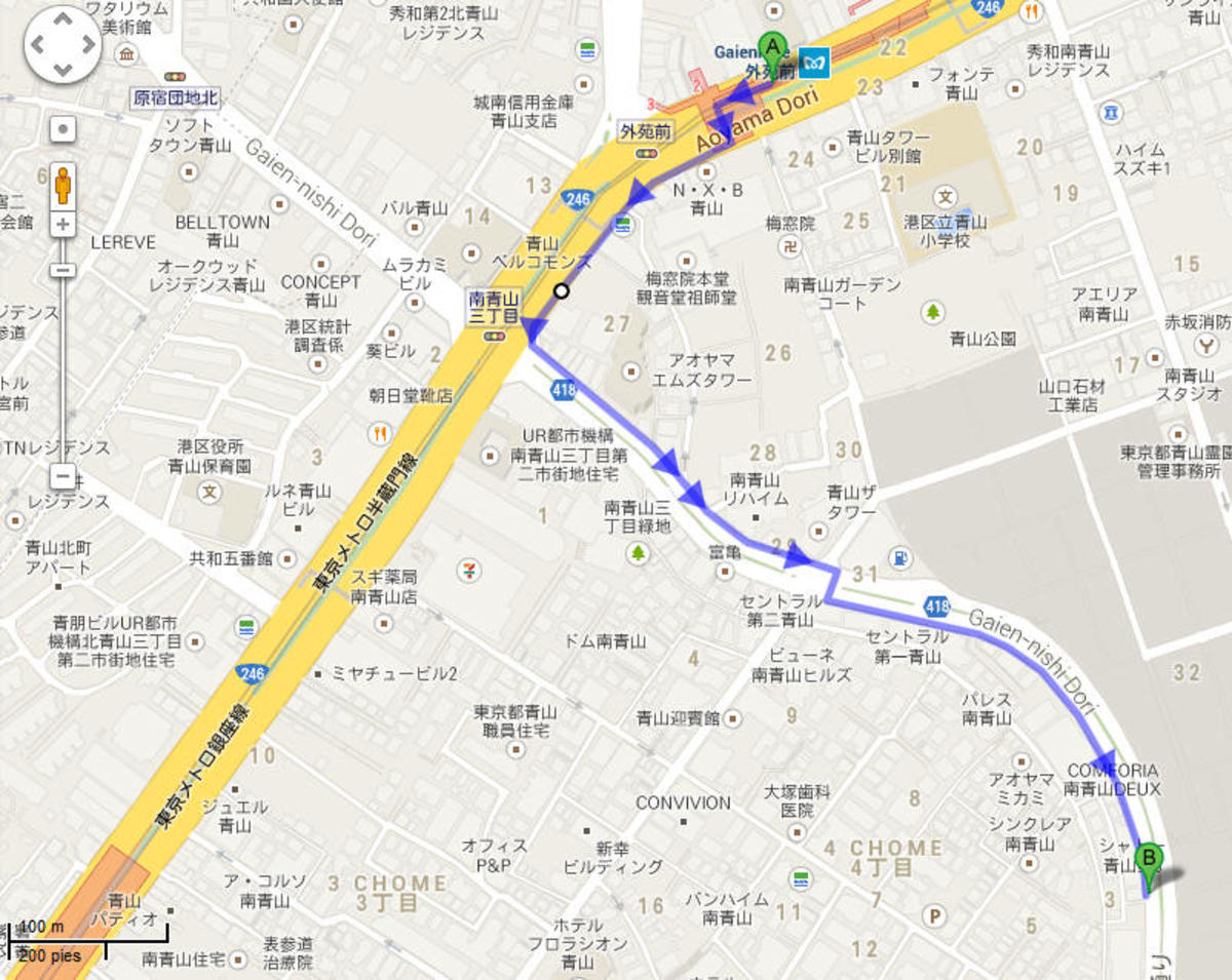 Walk from Gaienmae station to Yosuda, according to google it's 10 minutes, but it's all downhill. I remember it more like 5 minutes.