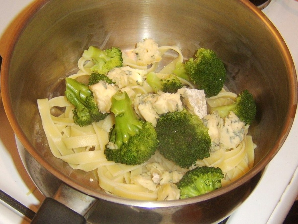 Broccoli and Stilton are added to drained tagliatelle
