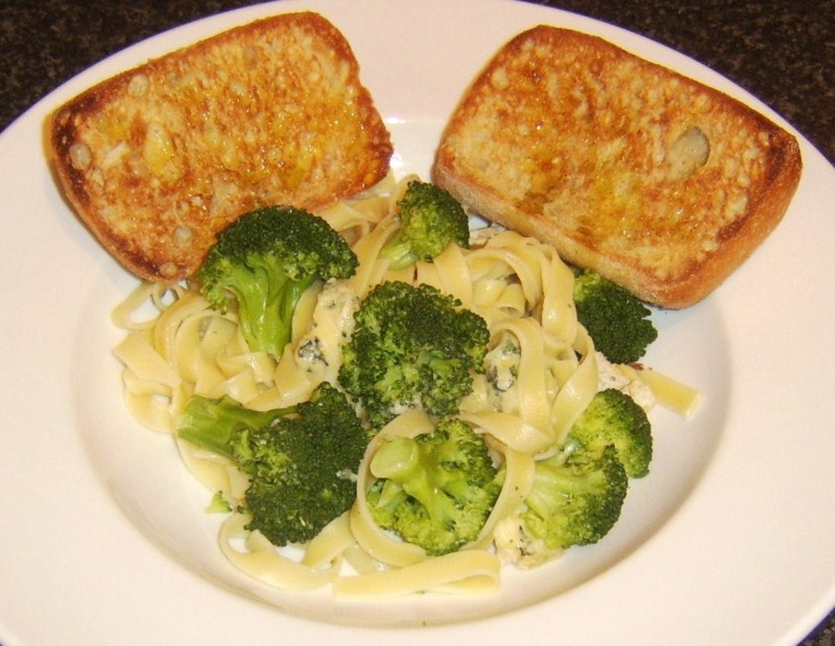 Stilton cheese and broccoli are stirred through tagliatelle pasta before it is served with simple bruschetta