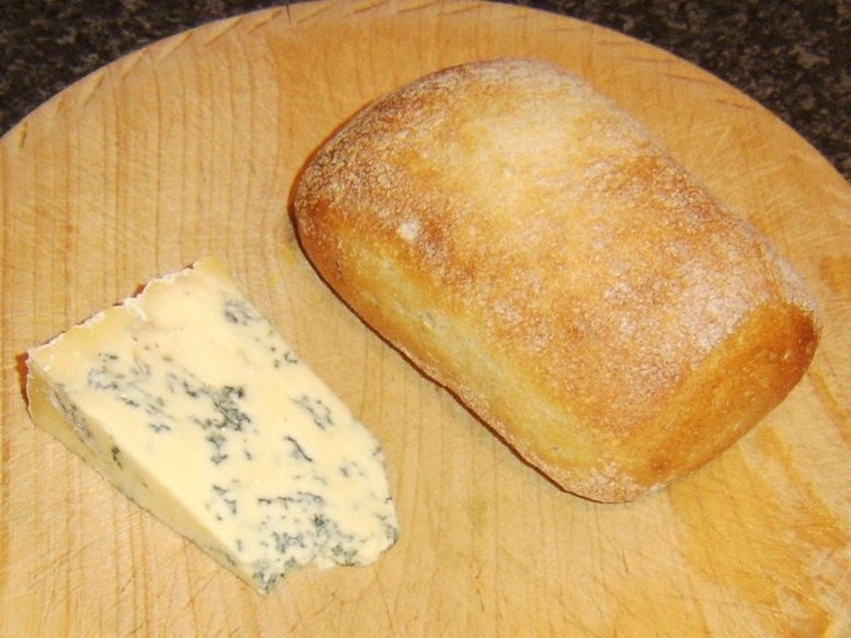 Ciabatta bread roll and Stilton cheese