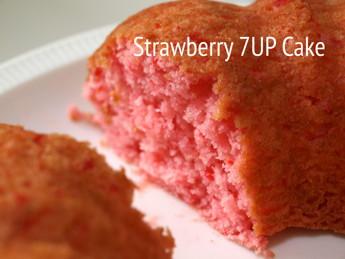 This cake was made with a boxed strawberry cake mix and a 12-oz can of diet 7-Up.