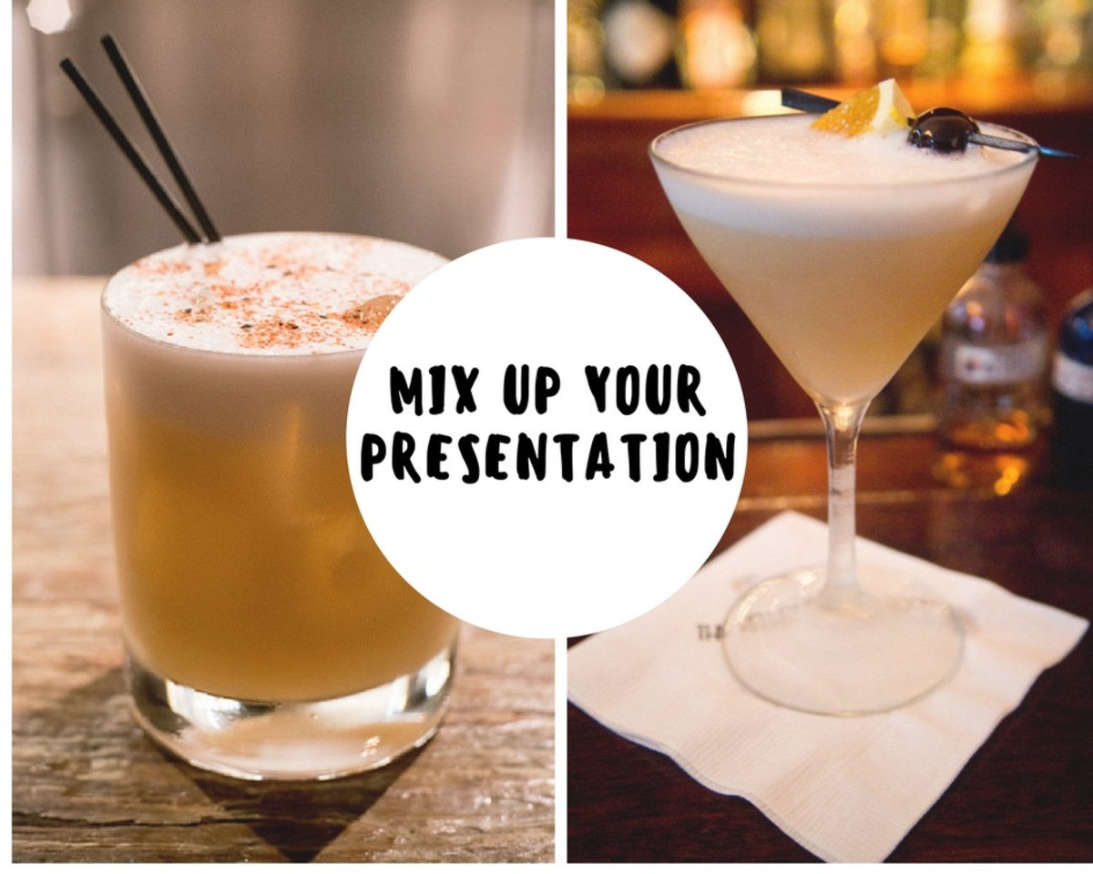 Update the classic whiskey sour recipe with a new presentation. Use decorative glassware or spend some time preparing a beautiful garnish for a unique look.