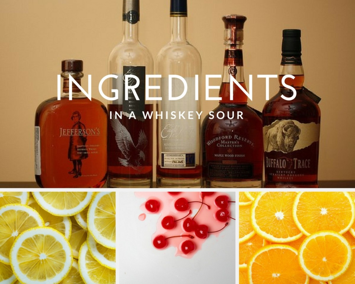 whiskey, lemons, cherries, and oranges