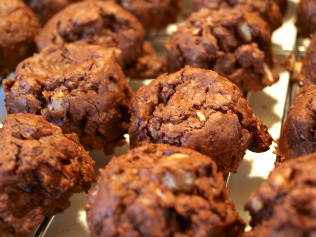 Fresh from the oven, these double chocolate cranberry cookies are best eaten when cooled, but still slightly warm.