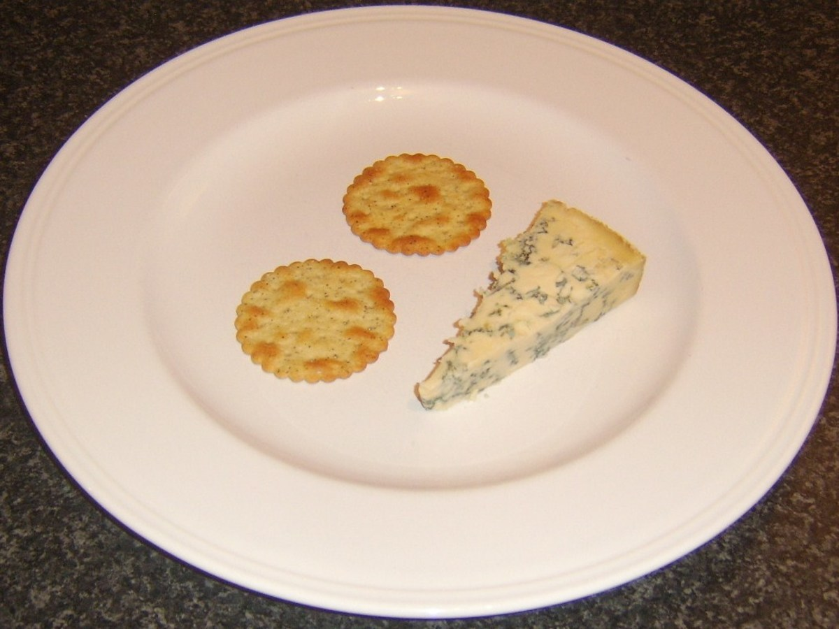 Salt and pepper crackers and Stilton