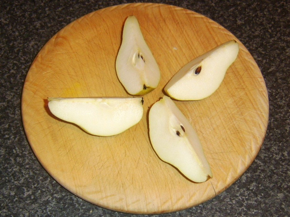 Pear is quartered down through the centre