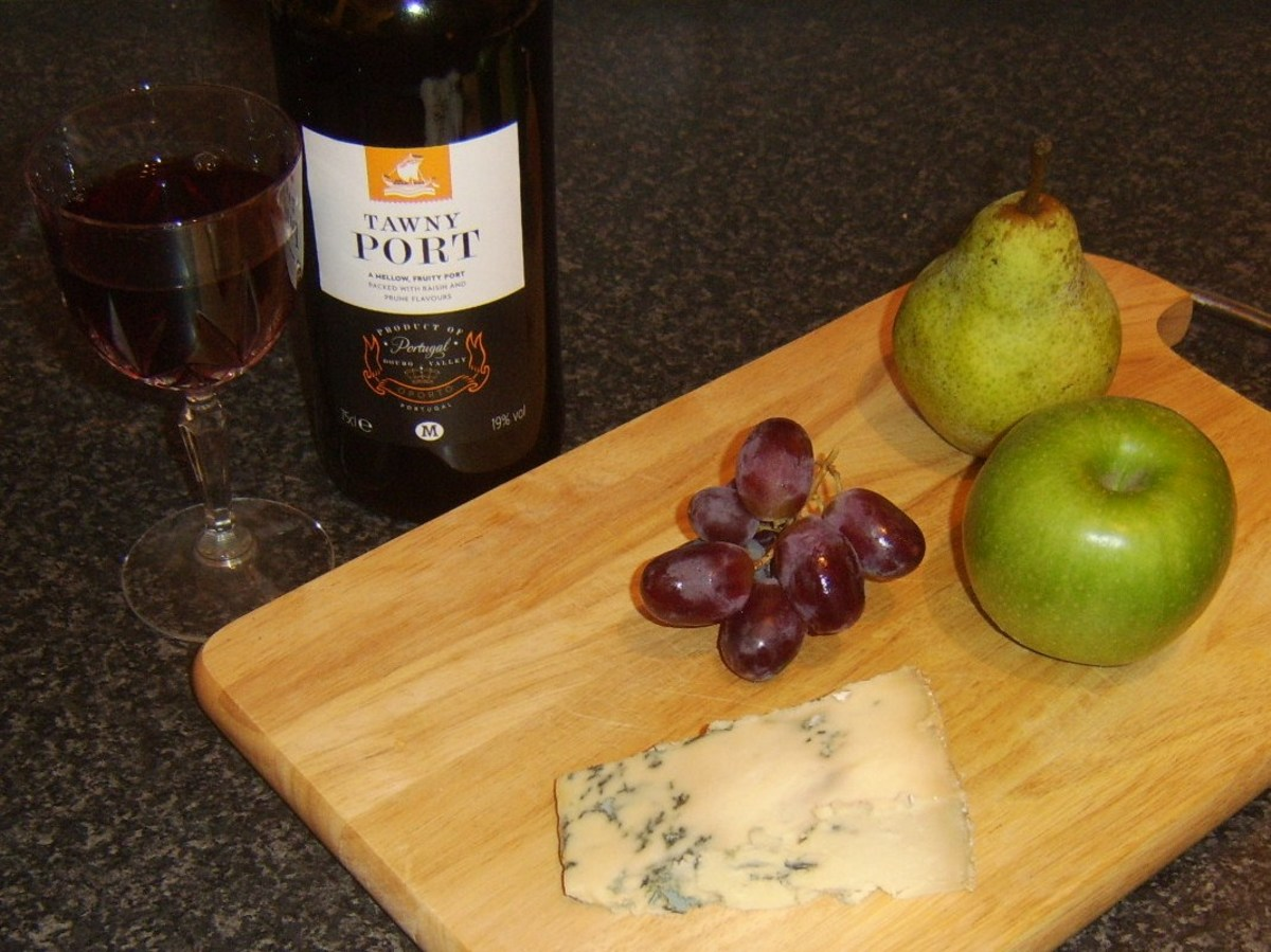Various fruits go very well with tawny port and Stilton